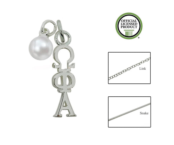 Omega Phi Alpha Sorority Lavalier Necklace with Pearl - DKGifts.com