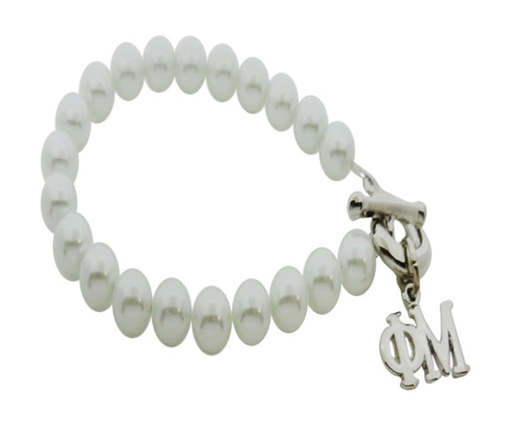 Phi Mu Pearl Sorority Bracelet with Toggle Clasp - DKGifts.com
