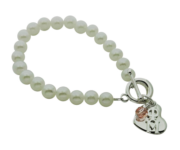 Phi Mu Pearl Sorority Bracelet with Heart and Swarovski Crystal - DKGifts.com