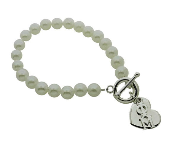 Phi Mu Pearl Sorority Bracelet with Heart on Toggle Clasp - DKGifts.com