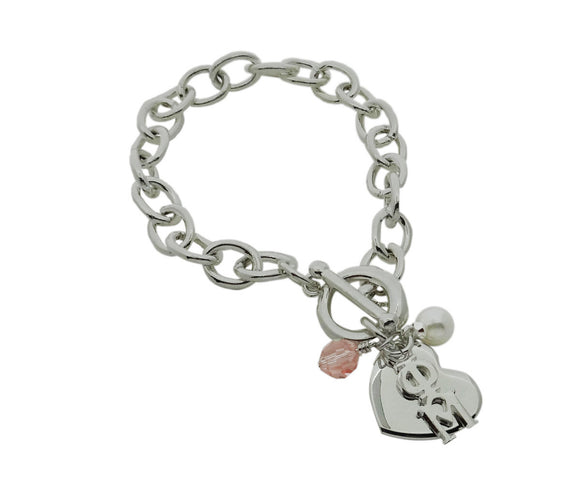 Phi Mu Sorority Bracelet with Heart, Swarovski Crystal and Pearl - DKGifts.com