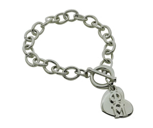 Phi Mu Rolo Sorority Bracelet with Heart on Toggle Clasp - DKGifts.com