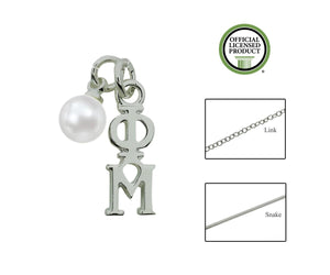 Phi Mu Sorority Lavalier Necklace with Pearl - DKGifts.com