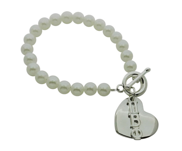 Pi Beta Phi Pearl Sorority Bracelet with Heart on Toggle Clasp - DKGifts.com