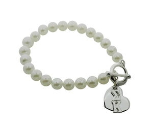 Sigma Kappa Pearl Sorority Bracelet with Heart on Toggle Clasp - DKGifts.com