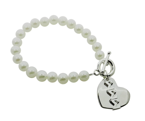 Tri Sigma Sigma Sigma Pearl Sorority Bracelet with Heart on Toggle Clasp - DKGifts.com