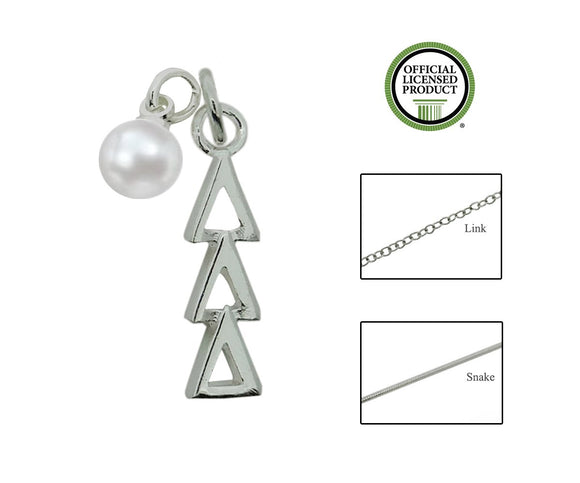 Tri Delta Delta Delta Sorority Lavalier Necklace with Pearl - DKGifts.com