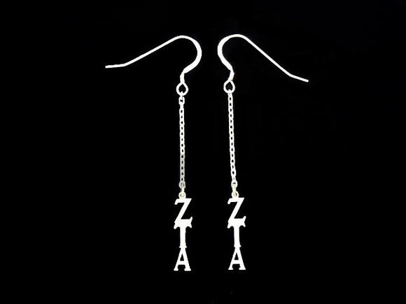 Zeta Tau Alpha Dangle Greek Sorority Earring Sterling Silver - DKGifts.com