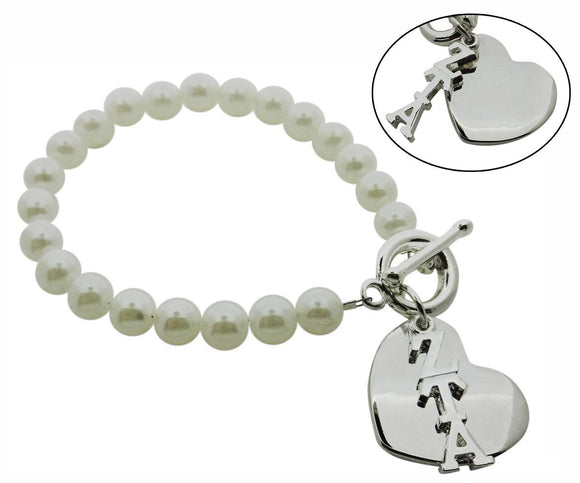Zeta Tau Alpha Pearl Sorority Bracelet with Heart on Toggle Clasp - DKGifts.com
