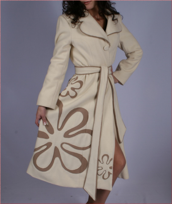 Natasha - luxurious tailored couture wool coat with floral design