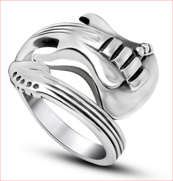 Titanium Steel Jewelry Rock Music Guitar Rings for Men and Women