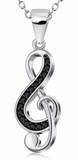 Women's 925 Sterling Silver with Cubic Zirconia Musical Note Necklace & Pendant