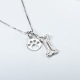 YFN  925 Sterling Silver Necklace with Black CZ Dog's Bone & Round Dog's Paw Pendant