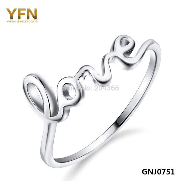 Genuine 925 Sterling Silver Love Letter Ring For Women
