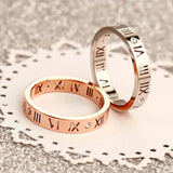 LOVE RING with Roman Numbers Design in Sterling Silver and cubic zirconia