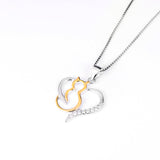 925 Sterling Silver CZ Crystal Gold Color Kitty Cat Heart Pendant Necklace