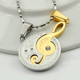 Classic Round Treble Clef Necklace with Rhinestone