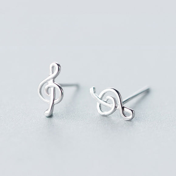 925 Sterling Silver Women's Music Notation Stud Earrings