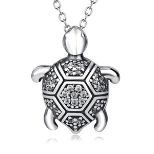 Genuine 925 Sterling Silver Turtle Charm Necklace