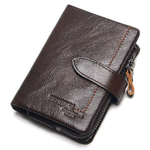 Men's Genuine Leather Wallet with Removable Zipper Pouch, Card Holder, Coin Pocket and more