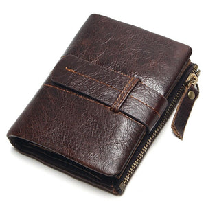 Vintage Casual 100% Real Genuine Leather Men's Mini Wallet
