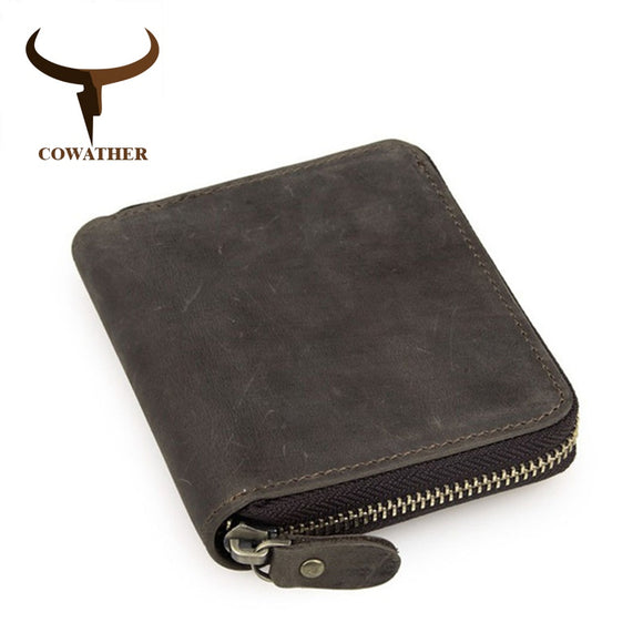 Zippered top quality genuine cow leather men wallet