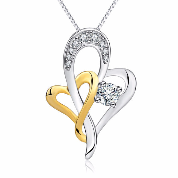 925 Sterling Silver Double Heart Pendant and Silver Necklace