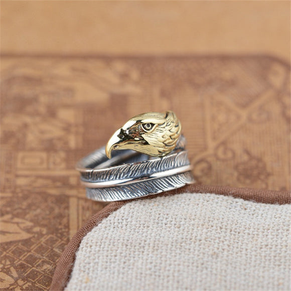 925 Sterling Silver Eagle Head Ring For Men