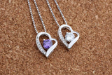 925 Sterling Silver Necklace with Heart Pendant with CZ White or Purple Crystal