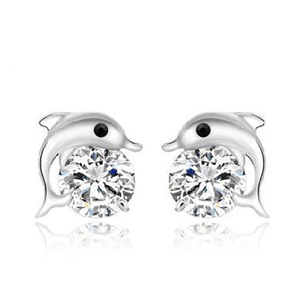 Genuine 925 Silver Dolphin earrings for Women