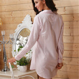 Women's Striped Cotton Sleep Shirt - Luxury Sleepwear Nightshirt for Her