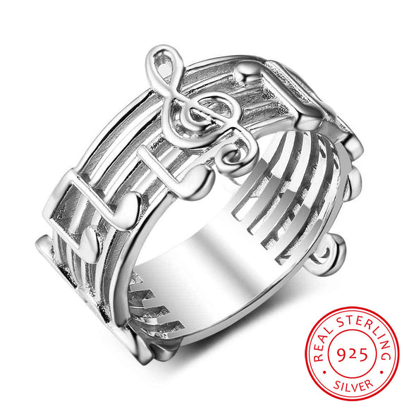925 Sterling Sliver Musical Note Pattern Ring For Music Lover