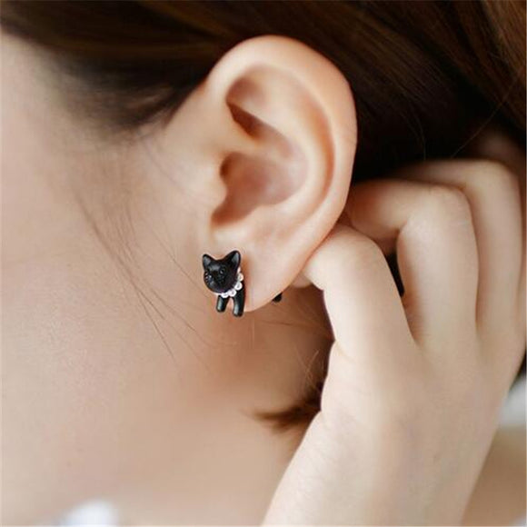 Three-dimensional Cat Pearl Stud Earrings
