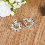 "Women's Elegant ""Love"" Ear Stud Earrings with Crystal Rhinestones"