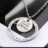 NEVER NEVER GIVE UP Vintage Silver Round Medal Pendant Necklaces