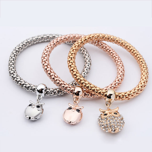 3-Pc Multi-layer Women's Charm Bracelet with Owl Pendants and Rhinestones