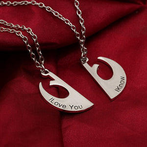"""I Iove You I Know"" Couple Chain Necklace pendant Lover Gift for Valentine's Day"