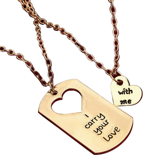 I Carry You Love With Me Couple Key Chain Necklace pendant