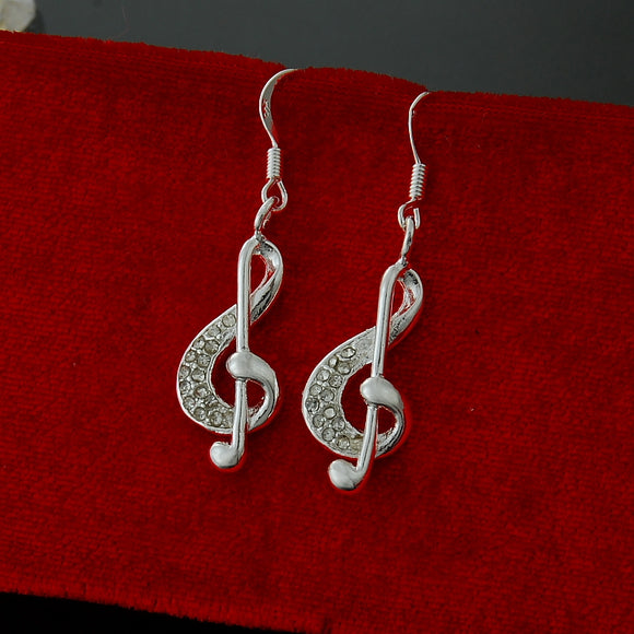 925 sterling silver Music Earrings with trendy crystal charm