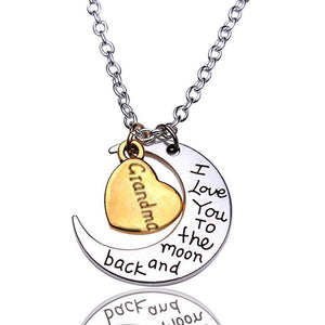 """I Love You To The Moon & Back"" Necklace Pendant Charm Gift, Present for Grandma"
