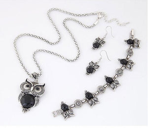 Women's Owl Necklace Pendant with Drop Earrings and Bracelet Jewelry Set