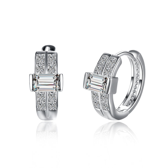 Distinctive Silver Plated Cross Round Crystal CZ Earrings