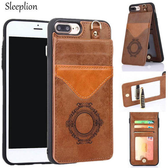 Multi-Functional Leather Wallet/Phone Case w/ Makeup Mirror for iPhones