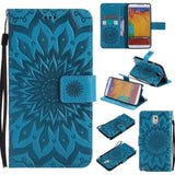 Sun Patterned Embossed Leather Wallet Purse Case for Samsung Galaxy Note 3