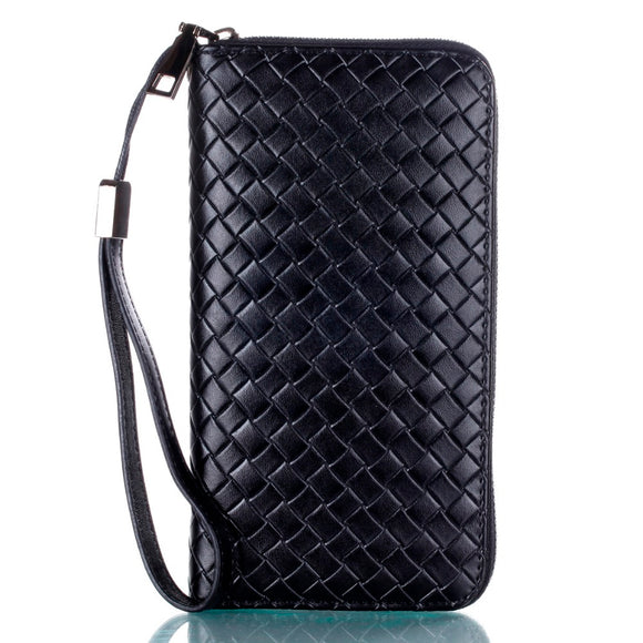 Luxury Weave Pattern Genuine Leather Multi-function Wallet /Phone case / Handbag for iPhones
