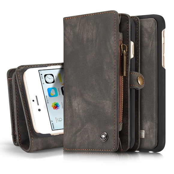Multi-Functional 2 in 1 Second Layer Genuine Leather Wallet / Phone Case for iPhones