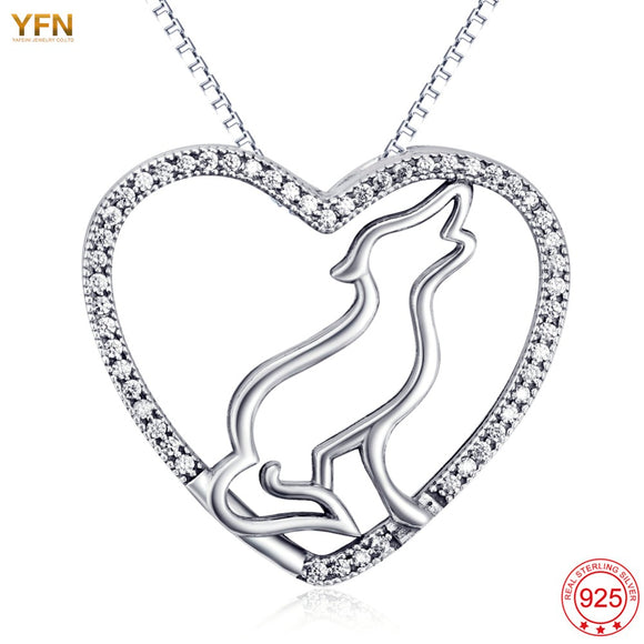 Wolf Love Pendant Necklace in 925 Sterling Silver