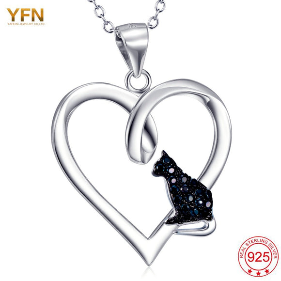 925 Sterling Silver Heart Shape CZ Black Cat Pendant with Necklace