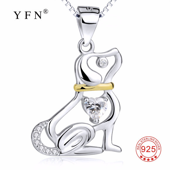 GNX12709 Hot Sale YFN 925 Sterling Silver Necklace Classic Cute Hollow Puppy Dog Pendants Necklaces Fashion Women Jewelry Choker