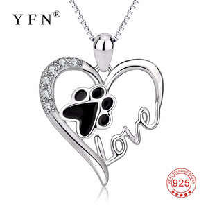 "YFN Genuine 925 Sterling Silver ""Love"" Heart Pendant Necklace for dog and cat lovers"